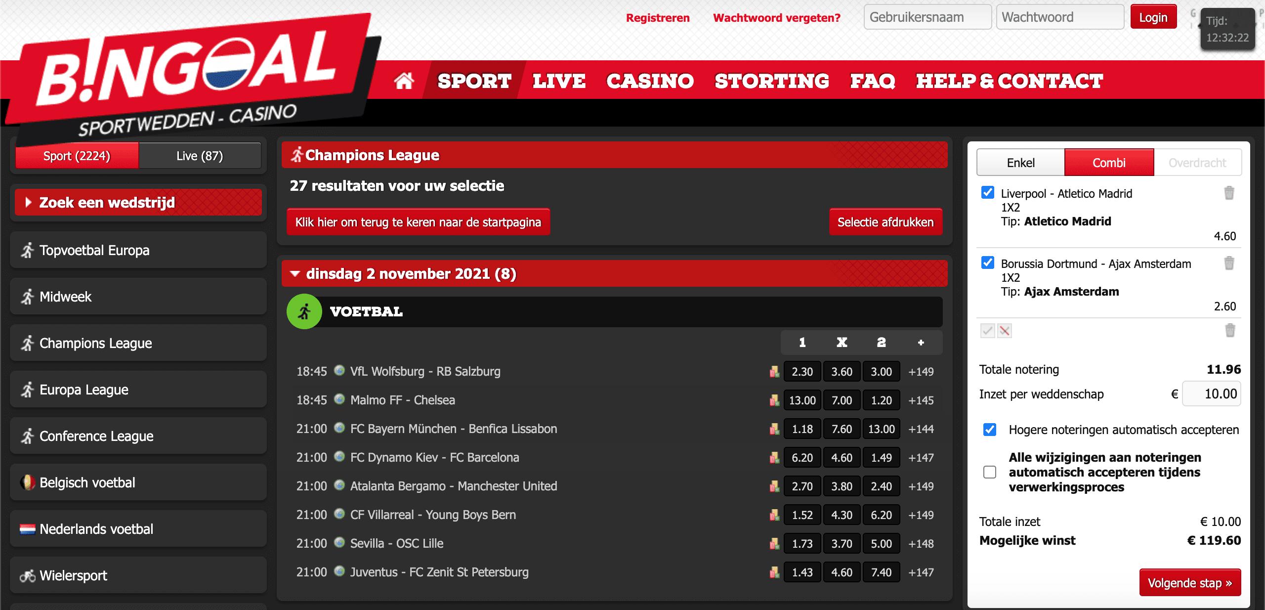 Bingoal landing page Nederland, sportwedden champions league