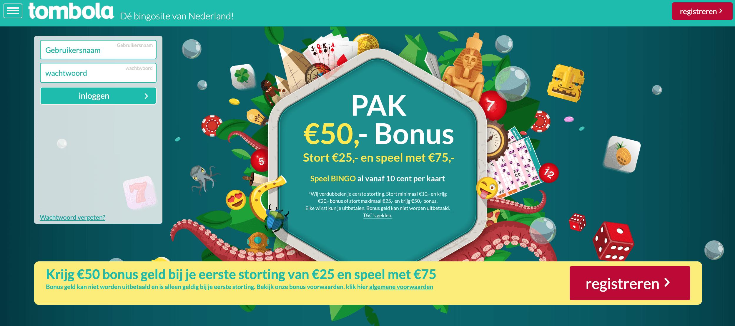 Tombola.nl lanceert zijn website op 21 oktober - homepage